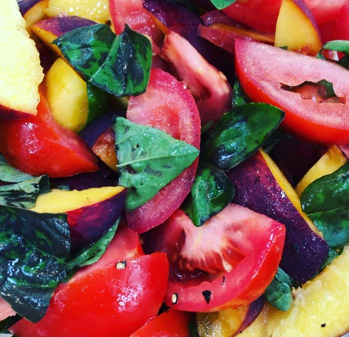 Tomato Peach Salad with Basil – Recipe 150