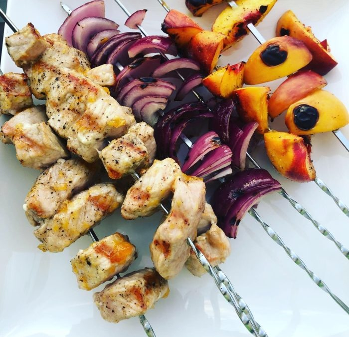Pork and Peach Kebabs with Grilled Green Beans